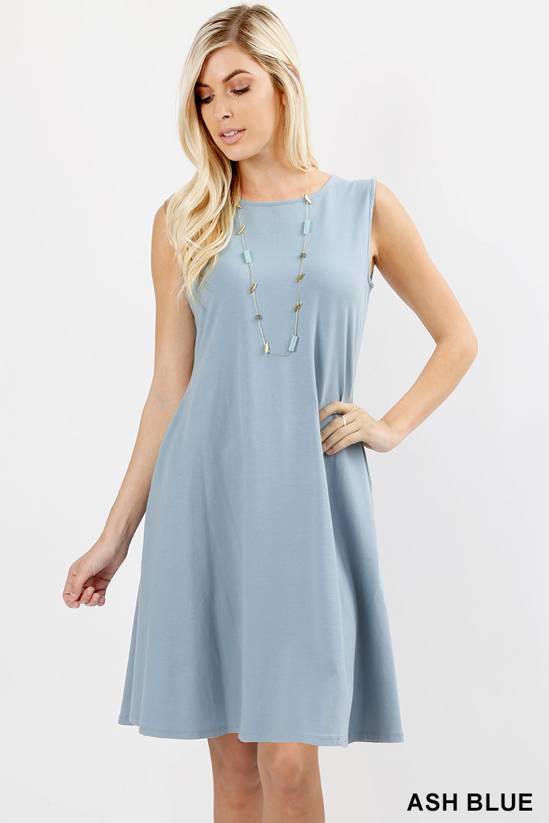COTTON SLEEVELESS CLASSIC A-LINE DRESS - Zenana Outfitters Women's Clothing