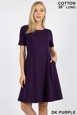 PREMIUM COTTON SHORT SLEEVE A-LINE DRESS