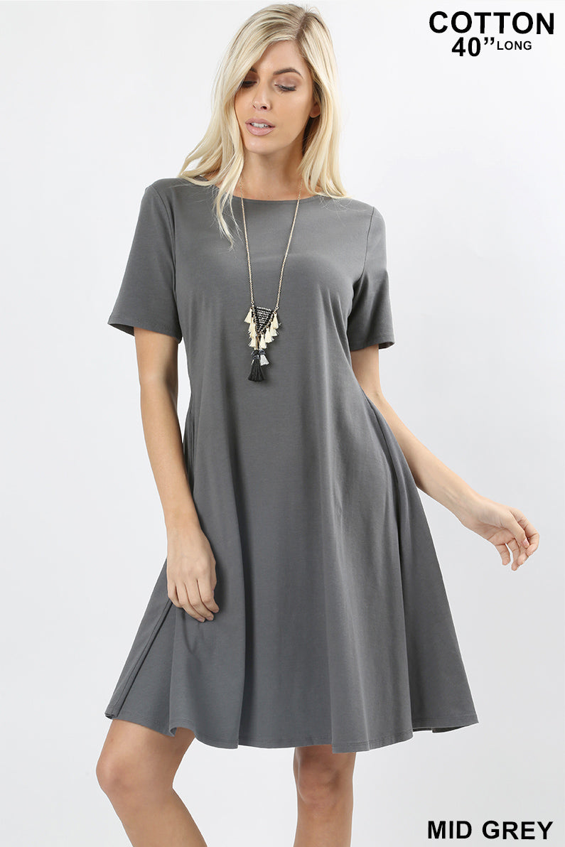 PLUS PREMIUM COTTON SHORT SLEEVE A-LINE DRESS - Zenana Outfitters Women's Clothing