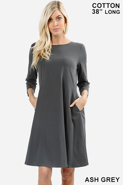 3/4 SLEEVE CLASSIC A-LINE POCKETS DRESS - Zenana Outfitters Women's Clothing