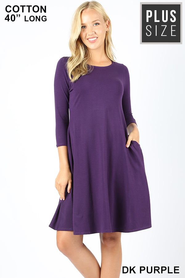 PLUS 3/4 SLEEVE CLASSIC A-LINE POCKETS DRESS - Zenana Outfitters Women's Clothing
