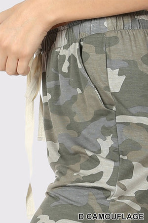CAMOUFLAGE CROPPED LOUNGE PANT - Zenana Outfitters Women's Clothing