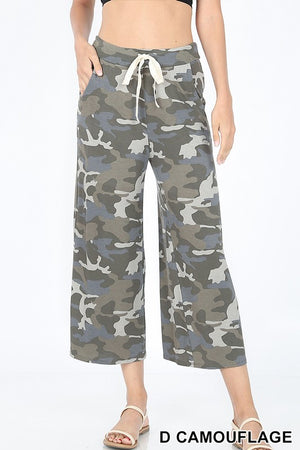 CAMOUFLAGE CROPPED LOUNGE PANTS WITH SIDE POCKETS - Zenana Outfitters Women's Clothing