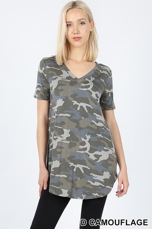 CAMOUFLAGE PRINT V-NECK ROUND HEM TOP - Zenana Outfitters Women's Clothing