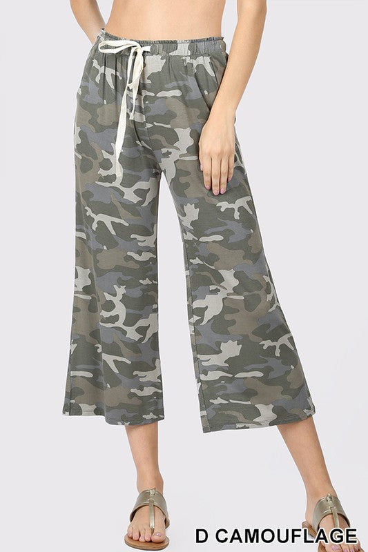 CAMOUFLAGE CROPPED LOUNGE PANT | Zenana Outfitters