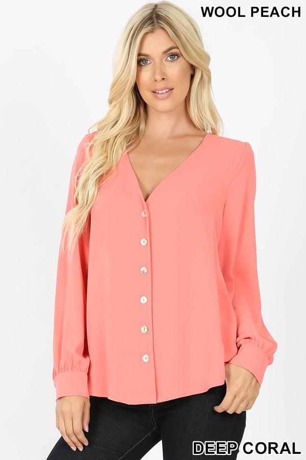 WOVEN WOOL PEACH SHELL BUTTON SHIRTS - Zenana Outfitters Women's Clothing
