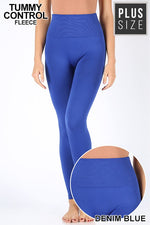 PLUS TUMMY-CONTROL FLEECE HIGH WAIST LEGGINGS - Zenana Outfitters Women's Clothing