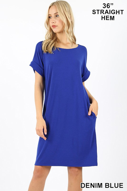 PREMIUM ROLLED SHORT SLEEVE ROUND NECK DRESS