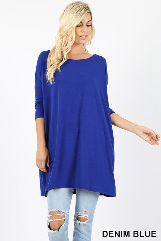 PREMIUM FABRIC 3/4 SLEEVE DOLMAN TOP