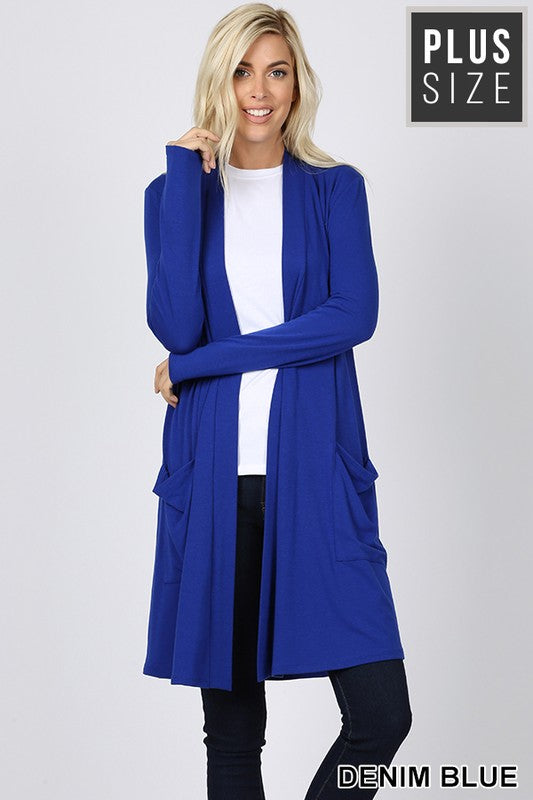 PLUS SLOUCHY POCKET OPEN CARDIGAN