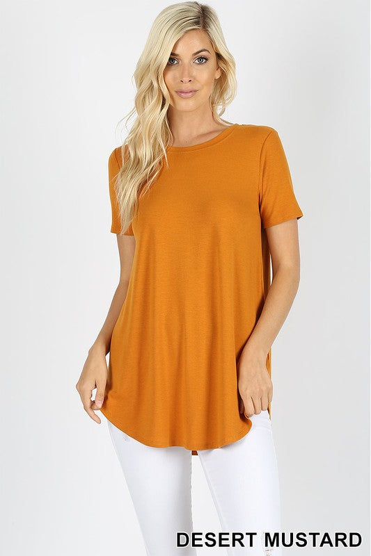 PREMIUM SHORT SLEEVE ROUND NECK ROUND HEM TOP - Zenana Outfitters Women's Clothing