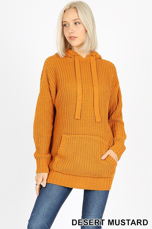 HOODED HEAVY SWEATER WITH KANGAROO POCKETS - Zenana Outfitters Women's Clothing