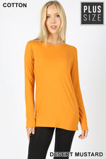 PLUS COTTON CREW NECK LONG SLEEVE T-SHIRT - Zenana Outfitters Women's Clothing