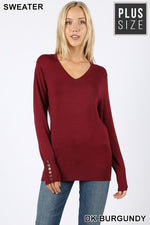 PLUS V-NECK GOLDEN BUTTONS DETAIL SWEATER