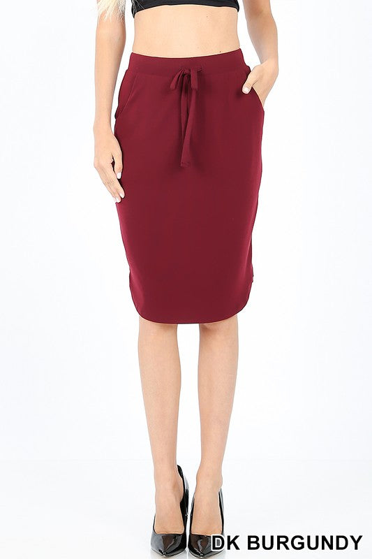 PREMIUM SELF TIE TULIP HEM SKIRT WITH SIDE POCKETS - Zenana Outfitters Women's Clothing