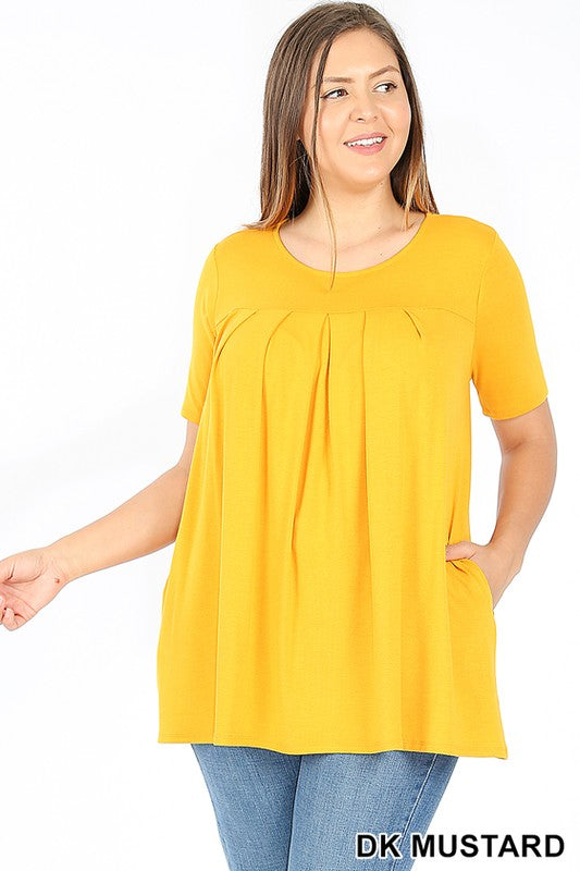 PLUS PREMIUM SHORT SLEEVE ROUND NECK PLEATED TOP - Zenana Outfitters Women's Clothing
