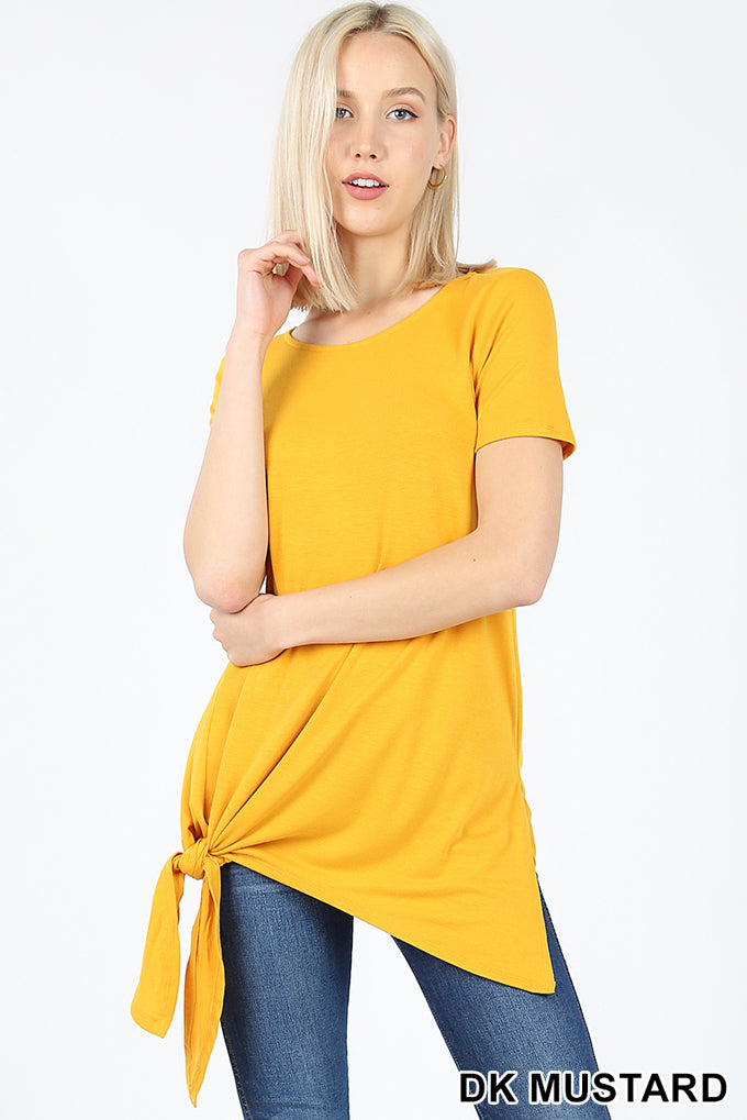 SHORT SLEEVE ASYMMETRICAL TIE SHARK BITE HEM TOP | Zenana Outfitters