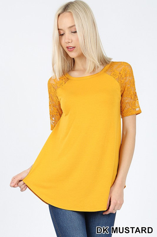 LACE DETAIL SHORT SLEEVE ROUND NECK & HEM TOP - Zenana Outfitters Women's Clothing