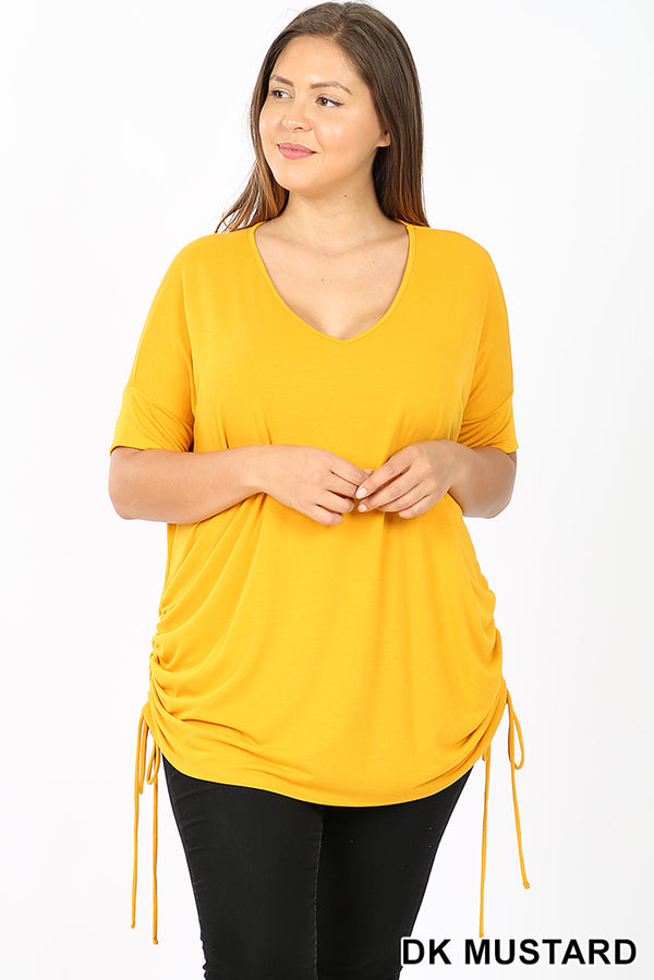 PLUS PREMIUM SHORT SLEEVE V-NECK RUCHED TOP - Zenana Outfitters Women's Clothing