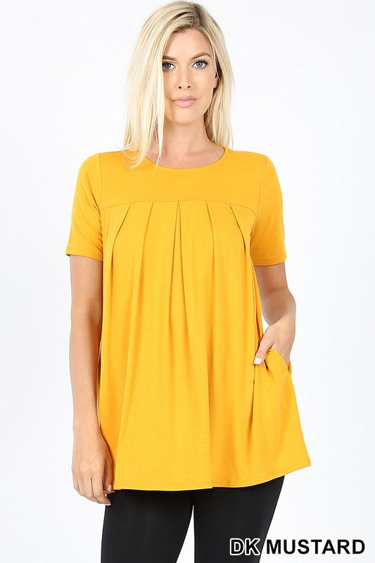 PREMIUM SHORT SLEEVE ROUND NECK PLEATED TOP - Zenana Outfitters Women's Clothing