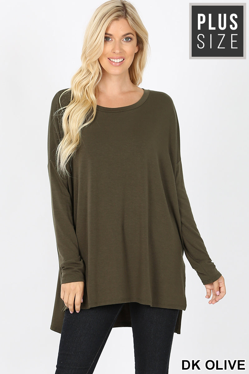 PLUS DOLMAN SLEEVE ROUND NECK SLIT HI-LOW HEM TOP - Zenana Outfitters Women's Clothing