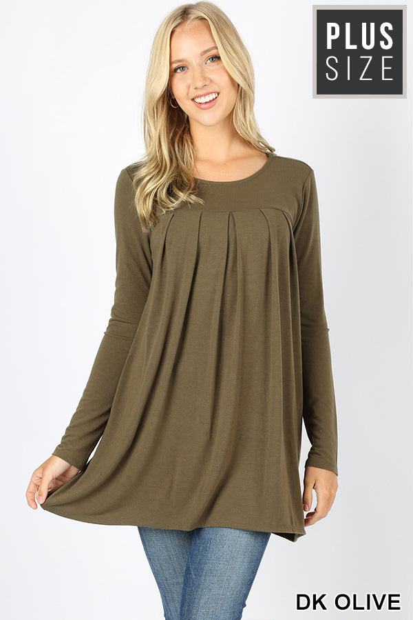 PLUS PREMIUM LONG SLEEVE ROUND NECK PLEATED TOP - Zenana Outfitters Women's Clothing