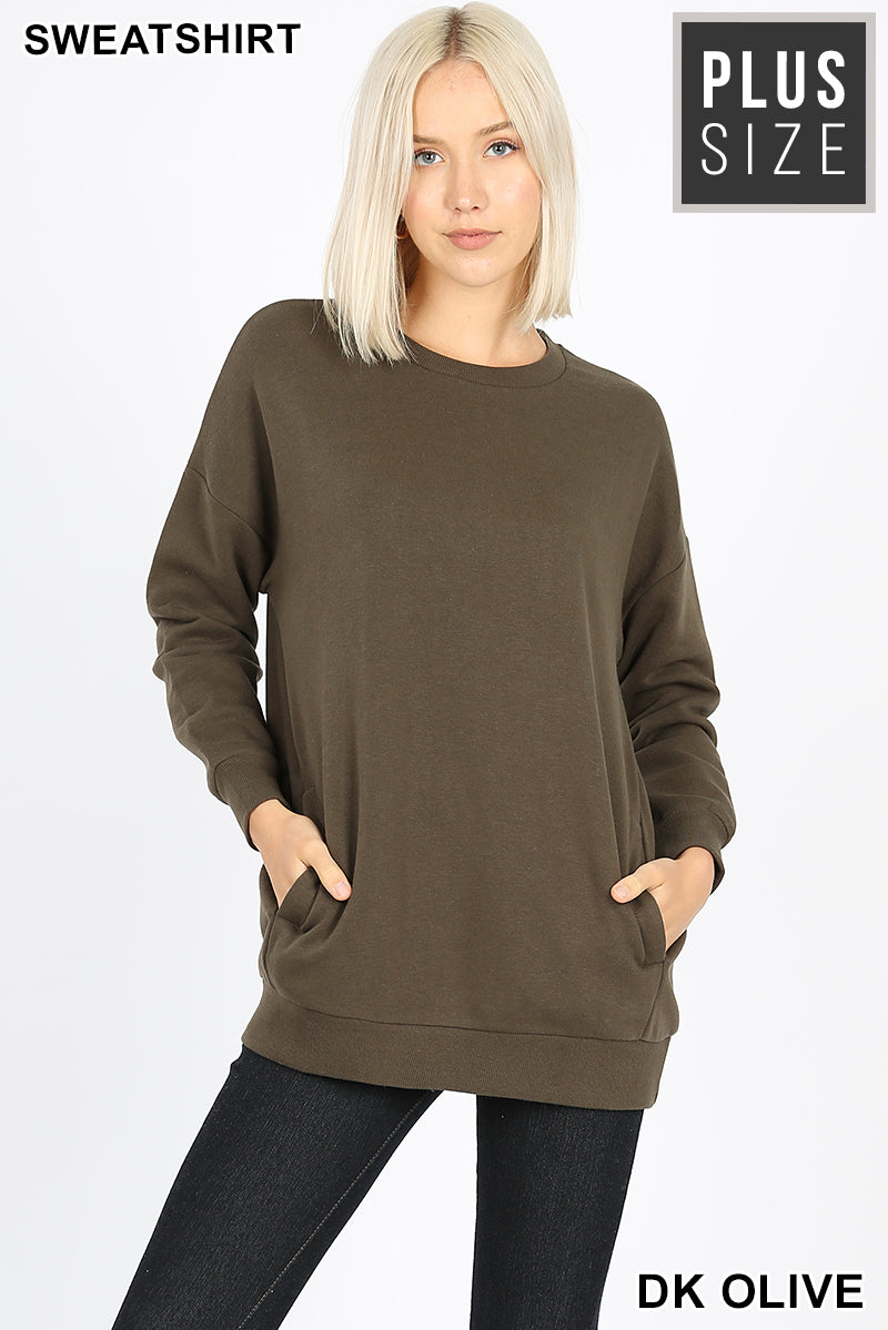 PLUS LONG SLEEVE ROUND NECK SWEATSHIRTS POCKETS - Zenana Outfitters Women's Clothing