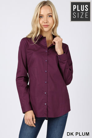 PLUS COTTON LONG SLEEVE CLASSIC SHIRT - Zenana Outfitters Women's Clothing