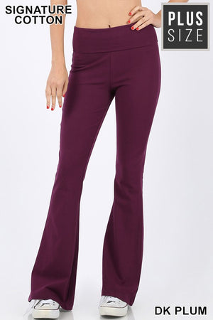 PLUS COTTON FOLD-OVER FLARE YOGA PANTS