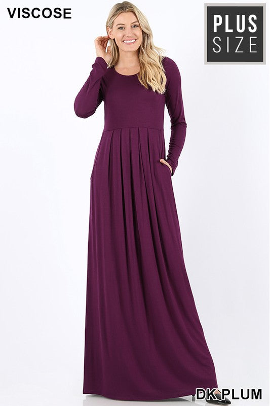 PLUS PLEATED WAIST LONG SLEEVE DRESS SIDE POCKETS