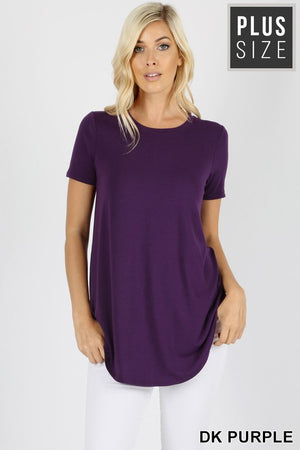 PLUS PREMIUM SHORT SLEEVE ROUND NECK ROUND HEM TOP - Zenana Outfitters Women's Clothing