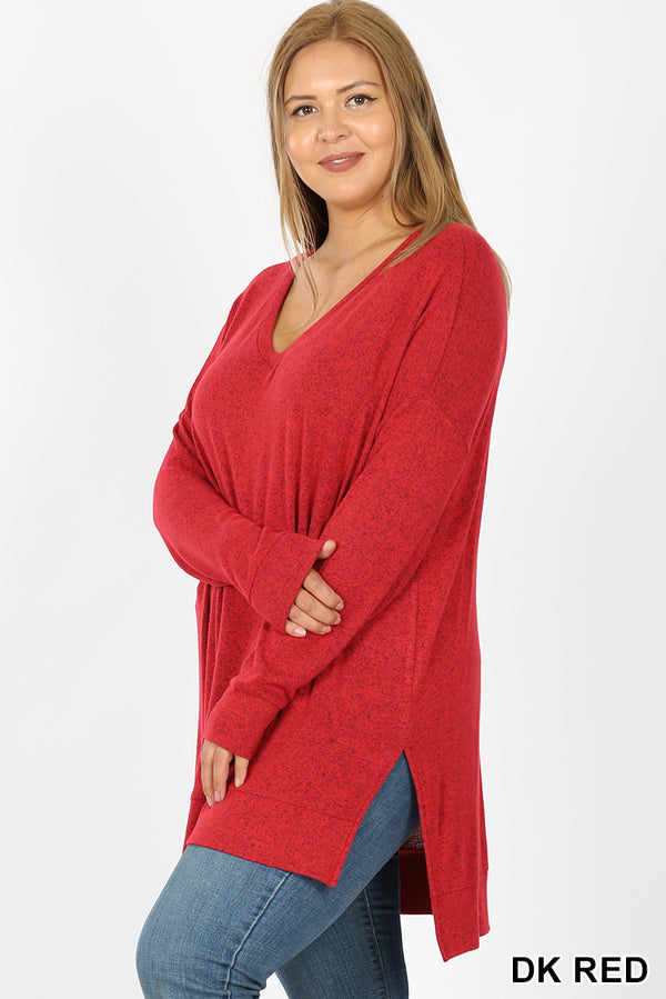 PLUS BRUSHED MELANGE SWEATER V-NECK HI-LOW HEM - Zenana Outfitters Women's Clothing