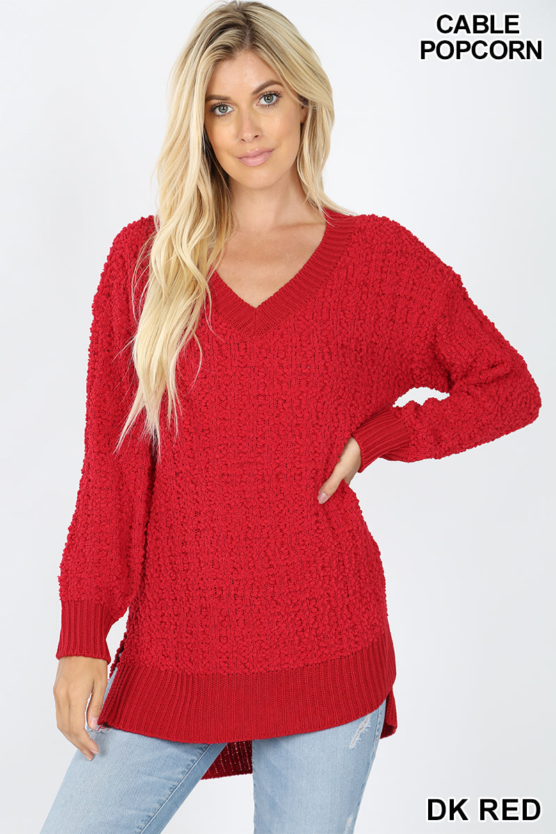 V-NECK CABLE POPCORN SWEATER HI-LOW HEM SIDE SLIT - Zenana Outfitters Women's Clothing