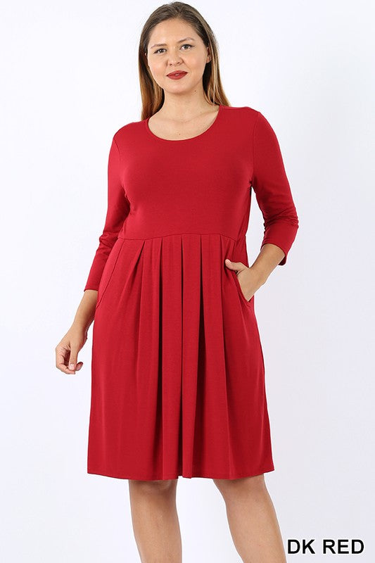 PLUS PREMIUM PLEATED WAIST QUARTER SLEEVE DRESS - Zenana Outfitters Women's Clothing