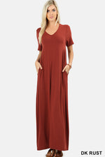 V-NECK SHORT SLEEVE MAXI DRESS WITH SIDE POCKETS - Zenana Outfitters Women's Clothing