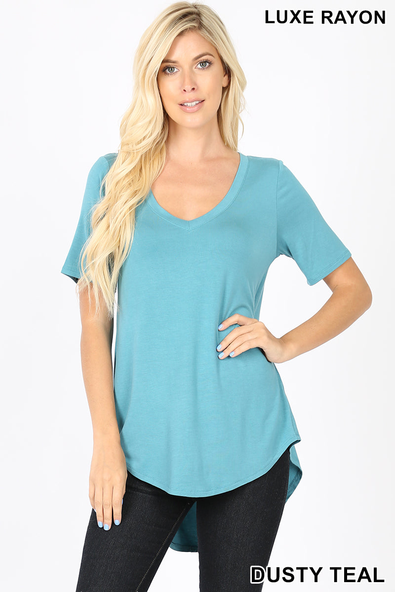 LUXE RAYON SHORT SLEEVE V-NECK HI-LOW HEM TOP - Zenana Outfitters Women's Clothing