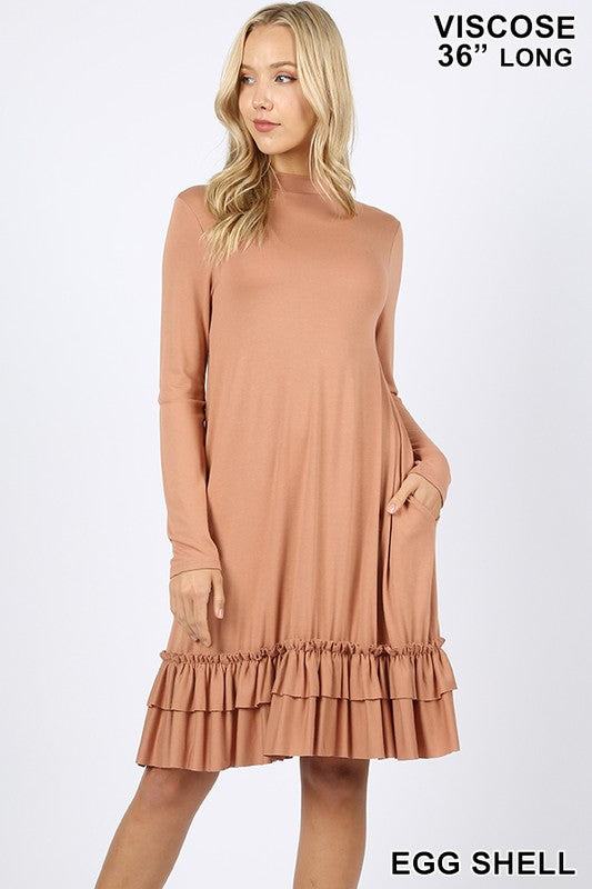 VISCOSE LONG SLEEVE MOCK NECK RUFFLE HEM DRESS