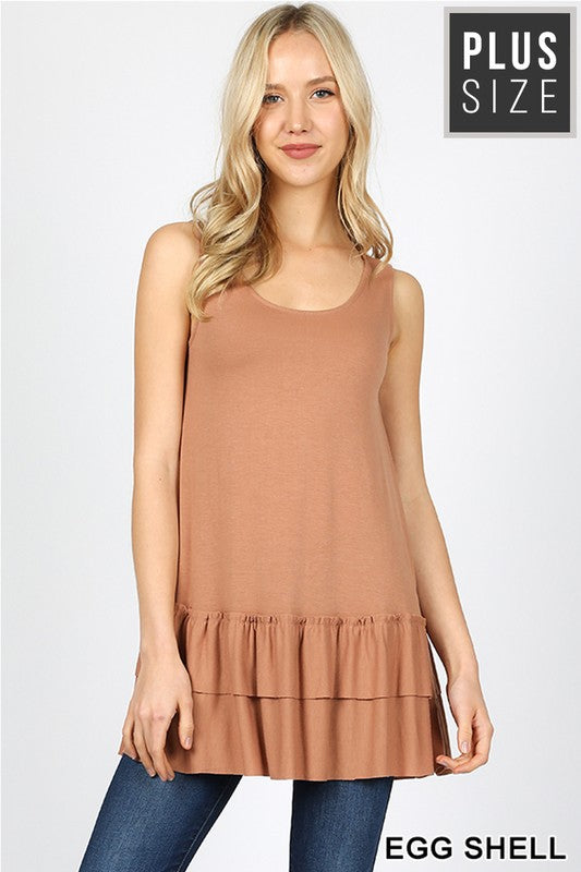 PLUS PREMIUM SLEEVELESS ROUND NECK RUFFLE TOP - Zenana Outfitters Women's Clothing