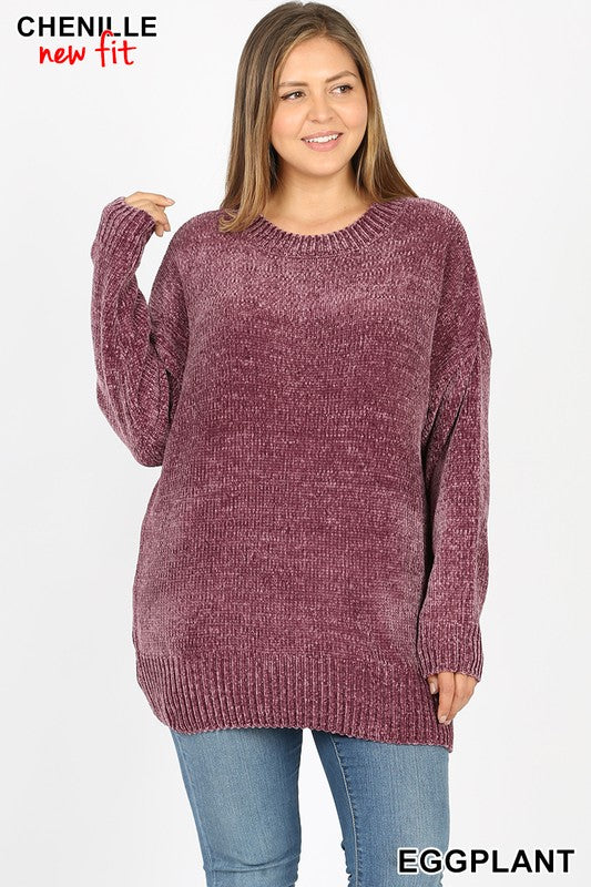PLUS ROUND NECK LONG SLEEVE CHENILLE SWEATER - Zenana Outfitters Women's Clothing