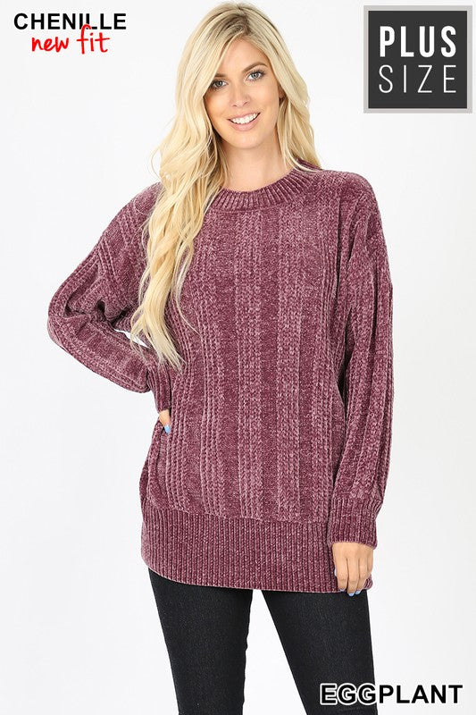 PLUS CABLE KNIT ROUND NECK CHENILLE SWEATER - Zenana Outfitters Women's Clothing