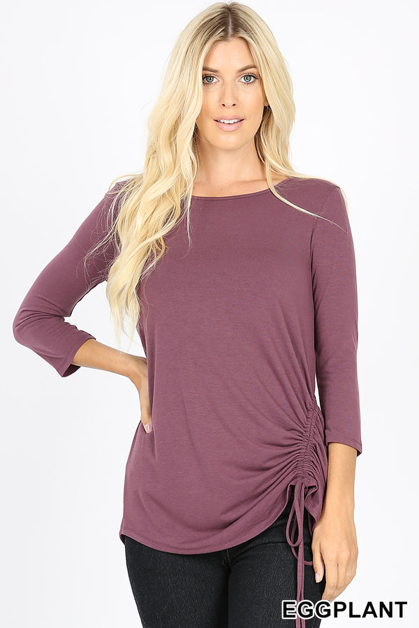 PREMIUM 3/4 SLEEVE ROUND NECK SIDE RUCHED TOP - Zenana Outfitters Women's Clothing