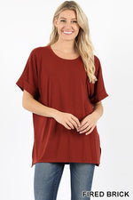 ROLLED SLEEVE SIDE SLIT HIGH-LOW HEM - Zenana Outfitters Women's Clothing