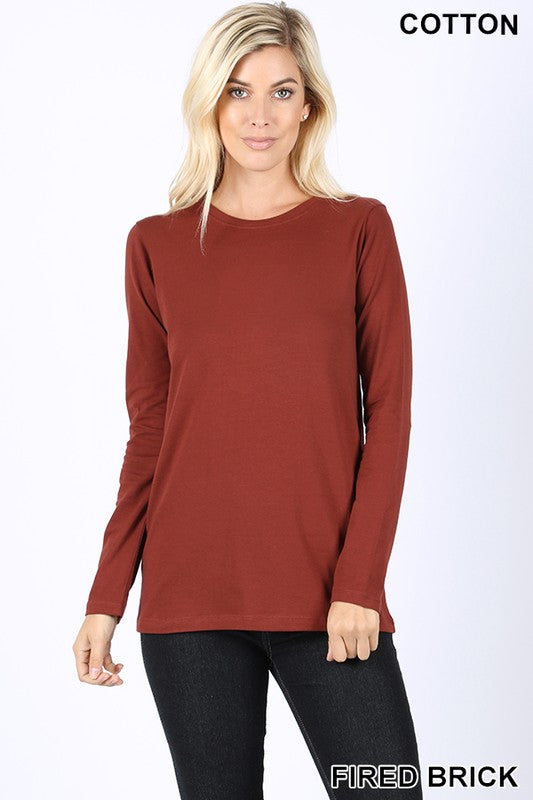 COTTON CREW NECK LONG SLEEVE T-SHIRT