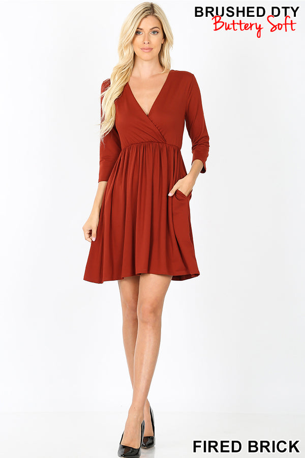 BRUSHED BUTTERY SOFT SURPLICE DRESS | Zenana Outfitters