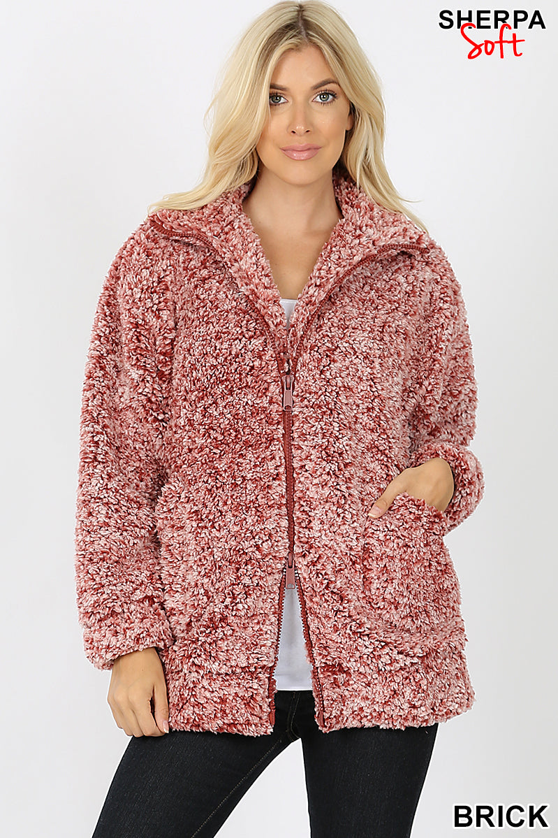 UNIQUE DYED SOFT SHERPA ZIP-UP HIGH COLLAR JACKET | Zenana Outfitters