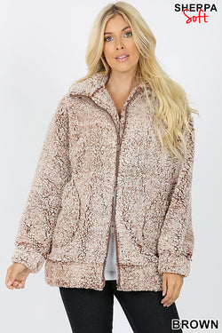 UNIQUE DYED SOFT SHERPA ZIP-UP HIGH COLLAR JACKET - Zenana Outfitters Women's Clothing