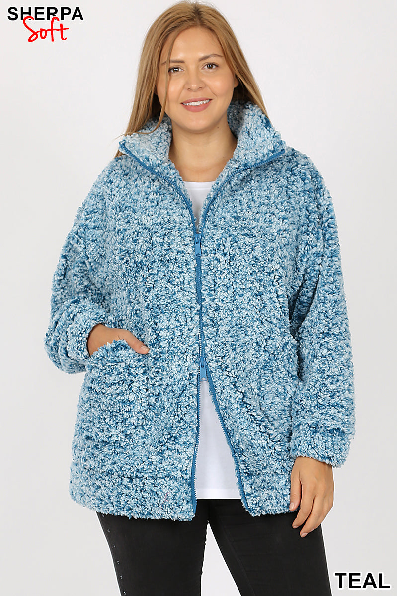 PLUS UNIQUE DYED SOFT SHERPA ZIP-UP JACKET - Zenana Outfitters Women's Clothing