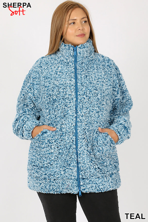 PLUS UNIQUE DYED SOFT SHERPA ZIP-UP JACKET | Zenana Outfitters