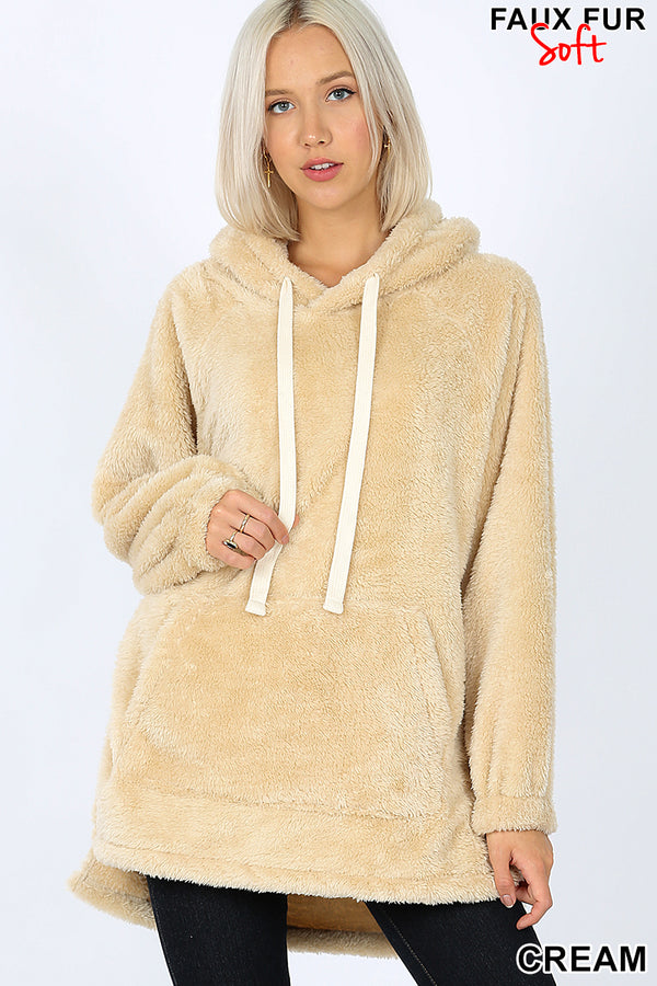 HOODED FAUX FUR KANGAROO POCKETS - Zenana Outfitters Women's Clothing