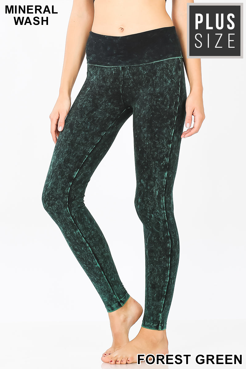 PLUS MINERAL WASHED FOLD-OVER WAIST YOGA LEGGINGS | Zenana Outfitters